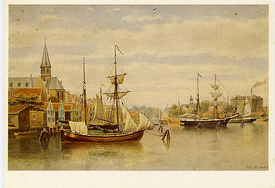 View of Westerdokseiland 1865 Netherlands≈historical archival drawing POSTCARD