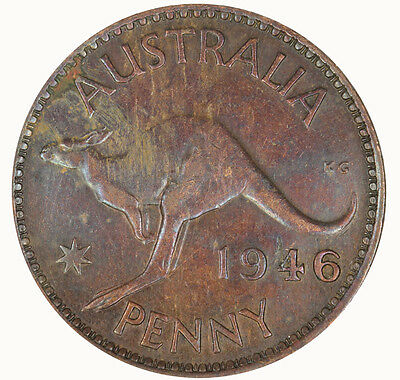 Australia 1946 K.G Variety Penny in VF Condition -RARE!