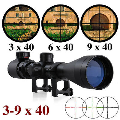 3-9x40E red and green air rifle gun optics sniper hunting scope with 20mm Mounts