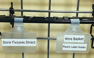 "Wire Basket Plastic Label Holder Clip On 2"" x 1.25"" - Pack of 50"