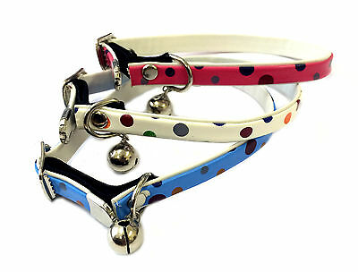 Cat & Kitten Polkadot Elasticated Adjustable Safety Collar & Bell. UK Seller.