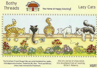 BOTHY THREADS LAZY CATS AND FLOWERS COUNTED CROSS STITCH KIT 36x16cm - NEW