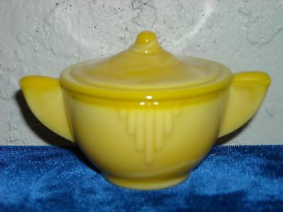 Akro Agate Large Interior Panel Sugar and Lid  Opaque Yellow