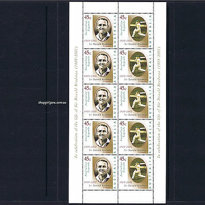 2001 - Australia - Don Bradman 1908-2001 - sheetlet of 10 - MNH
