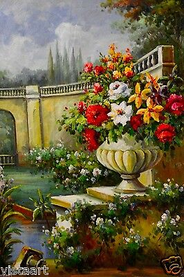 "BEAUTIFUL Oil Painting on Stretched Canvas 24""x 36""- Floral Bridge Landscape"