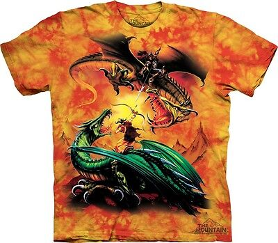 The Duel T-Shirt by The Mountain. Jousting Dragons Fantasy Tee Sizes S-5XL NEW