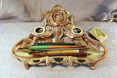 ANTIQUE 19c VICTORIAN FRENCH ORNATE BRONZE BRASS INKWELL GOLD PLATED