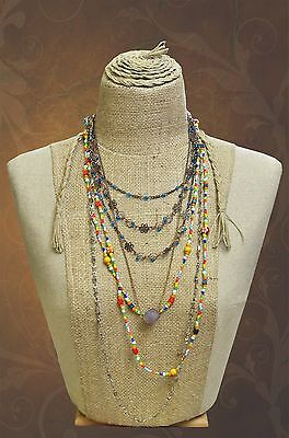 Necklace display Half mannequin Native of African style Hemp and Linen torso
