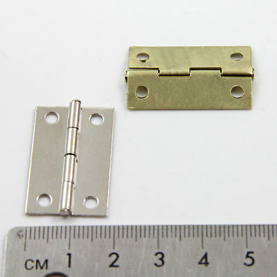 10 PLATED MINIATURE HINGES HARDWARE 30x20mm DOLLHOUSE JEWELLERY BOX CIGAR SMALL