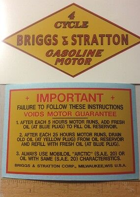 Briggs & Stratton Early Goldenrod Decals 1931-32 M, Q, R, FJ-1, W & early Z St 2