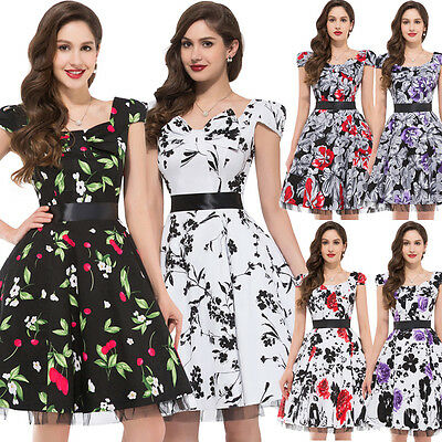 dress190 White & Black FLORAL 40's 50's ROCKABILLY SWING PROM VINTAGE DRESS