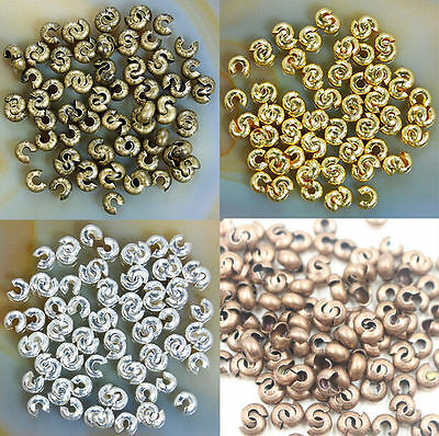 200pcs Metal Silver/Gold plated Conceal Crimp Knot cover Beads TUBE End 3mm/4mm