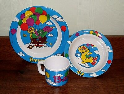 ~BARNEY and Friends BJ Baby Bop Plate Bowl Cup Childs Dinner 3 Piece Set