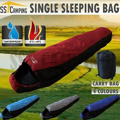 -5°C Single Mummy Outdoor Camping Sleeping Bag Thermal Tent Hiking 220 80 cm
