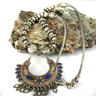 Old Tribal Silver Bead & Inlay Pendant Necklace -Tribal Regions Balochistan
