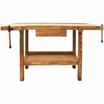 DJM  Wooden Oak Work Bench Table Workshop Carpenters Wood Woodworking & Vices