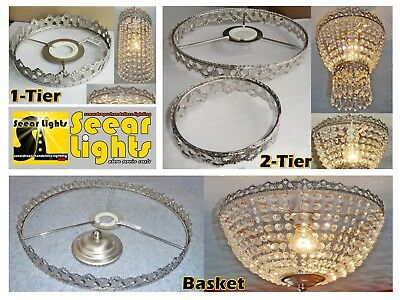 Antique Deco Style Chrome Make Your Own Chandelier No Drops Crystals Frame Only