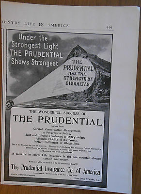 1906 vintage AD Prudential Insurance Co of America has the Strength of Gibraltar
