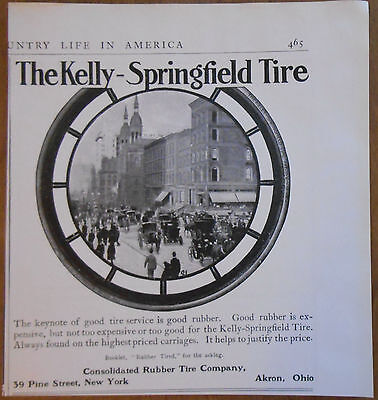 1906 vintage AD Kelly-Springfield Tires for carriages Consolidated Rubber Tire