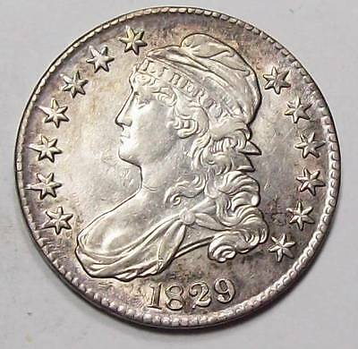 1829 CAPPED BUST HALF DOLLAR  Lusterous Toned AU++ / UNC~  Free U.S.Ship~