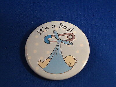 """IT'S A BOY"" BUTTON family pin pinback 2 1/4"" badge NEW! Big BABY INFANT NEWBORN"