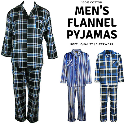 Mens FLANNELETTE PYJAMAS Long Sleeve Sleepwear Winter Warm PJs Pajamas S-6XL New