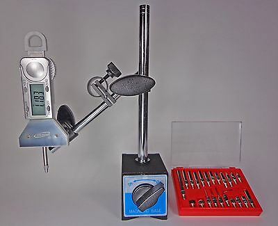 Magnetic Base with Digital Indicator and 22 Piece Dial Test Indicator Anvil Set