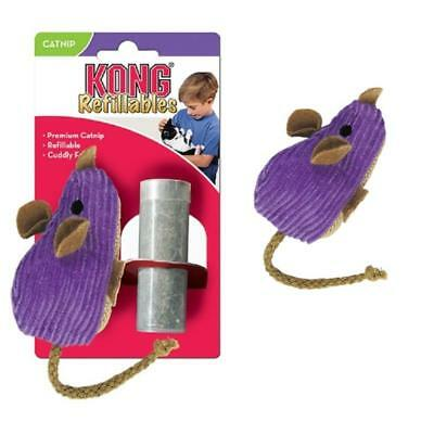 Kong Catnip Corduroy Mouse Cat Kitten Toy Play Refillable + Vial of Catnip