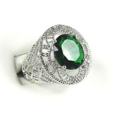 R#3002 Simulated Green Emerald Gemstone ladies silver ring size 8
