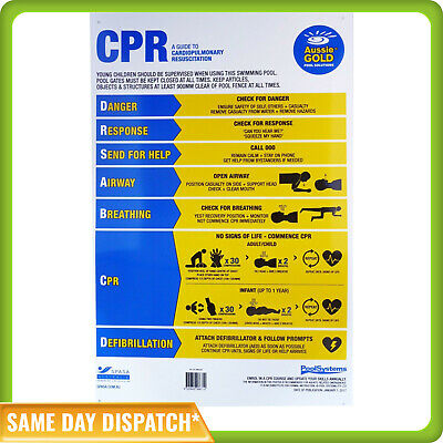 Cpr Sign / Resuscitation Chart-Swimming Pools And Spas-Large-Uv Resistant Pvc