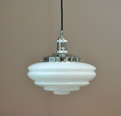 Buster-Cord Suspension-Chrome-Chateau White Shade-Industrial Pendant-Deco Light