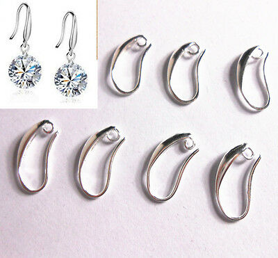 20-100PCS DIY Crystal Beads Silver Smooth Pinch Bail Earring Hook Ear Wire Hooks