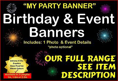 Personalised Birthday Party Event Sign Banners - Long custom in various sizes