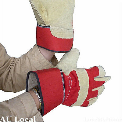 Rigger Working Gloves Pigskin Leather Safety Protective Workwear Red TGLOV0401