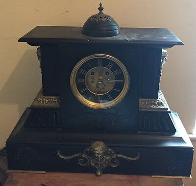 Victorian Brass Decorated Marble Case Visible Movement Striking Mantle Clock