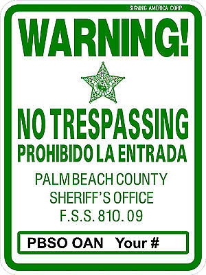No trespassing sign 18'' x 24'' Reflective Background