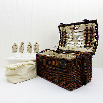 Deluxe Greenfield 4 Person Wicker Picnic Basket Hamper & Chiller Cooler Bag Gift