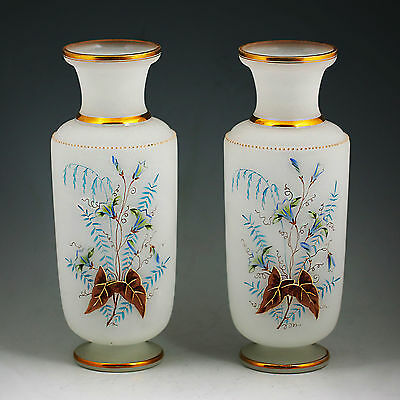 """Pair 10""""h Antique French Opaline glass Vases, Victorian Hand Blown Enamelled"""