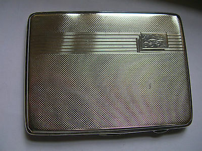 LARGE 'ART DECO' ENGINE TURNED HM SOLID SILVER CIGARETTE CASE - 1934 - 168.7g