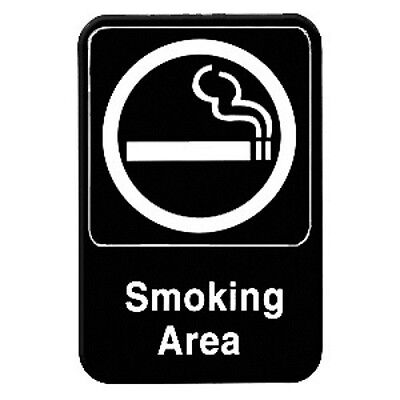 "SMOKING AREA - Information Sign with Symbols Door Sign 6"" x 9""  PLIS6902BK"