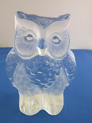 Viking Glass Owl Paperweight, Frosted and Clear Glass, hand made