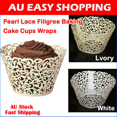 50pcs Pearl Lace Filigree Cupcake Wrapper  Cupcake Wraps Baking Cake Cups D