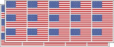 30 USA American Flags (2) Sheets total of 30 Decal Stickers Free Ship Buy2 Get3
