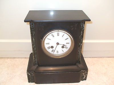 Japy Freres Victorian French Marble Case Drum Movement Striking Mantle Clock