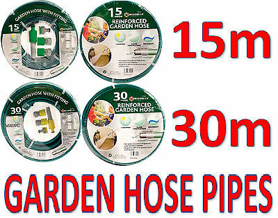 15M 30M Reinforced Garden Hose Pipe With Without Fittings New Gardening Car Wash