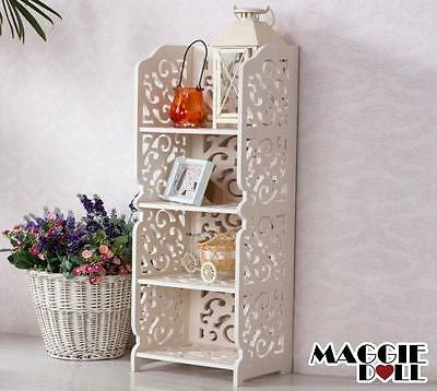 New White Hollow Carved Kitchen Bathroom Storage shoes Rack book shelves 8030