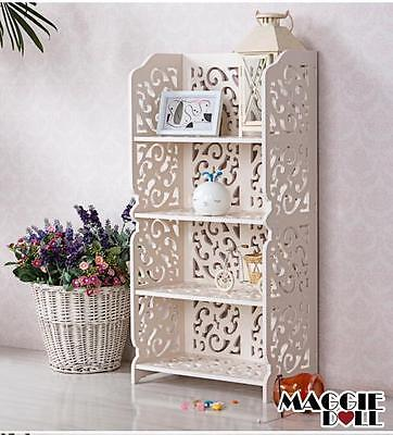 New White Hollow Carved Kitchen Bathroom Storage shoes Rack book shelves 8040