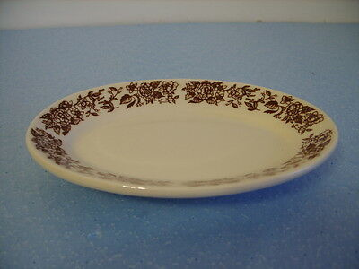 HOMER LAUGHLIN BEST CHINA SMALL OVAL PLATTER/PLATE BROWN FLOWERS