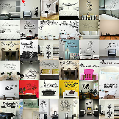 WALL STICKERS! Removable Decal Transfer Interior Home Art Vinyl Decor Quote *UK*
