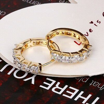 """9ct 9K Yellow & White """"Gold Filled """"C/ Z Crystals Small Hoop Earrings. Gift"""